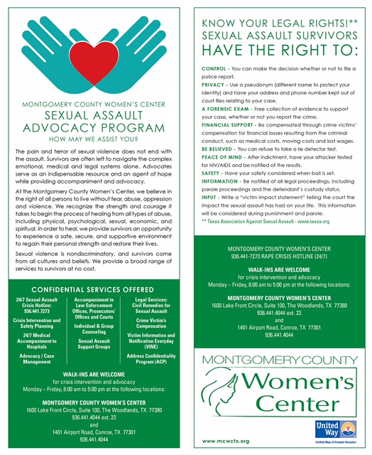 Sexual Assault Advocate Program flyer