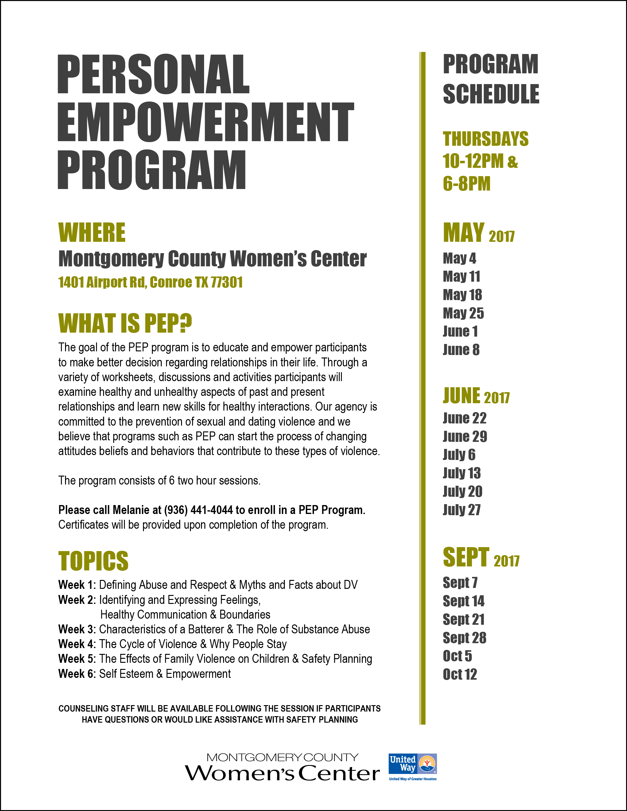 Flyer for personal empowerment programs
