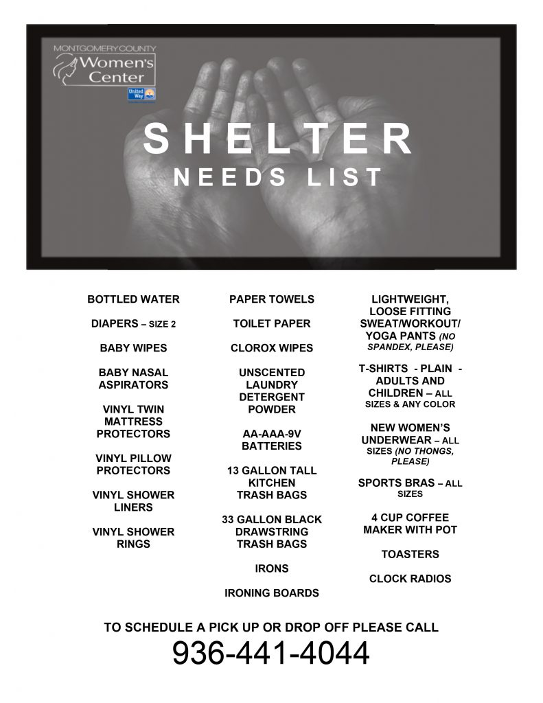 Shelter needs list