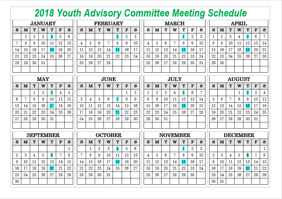 Youth Advisory Committee 2018 Meeting Schedule