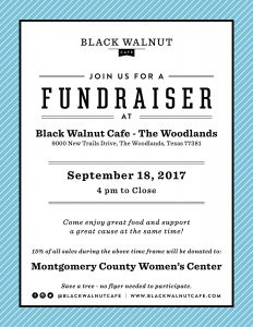 Flyer for a fundraiser at Black Walnut Cafe in the Woodlands