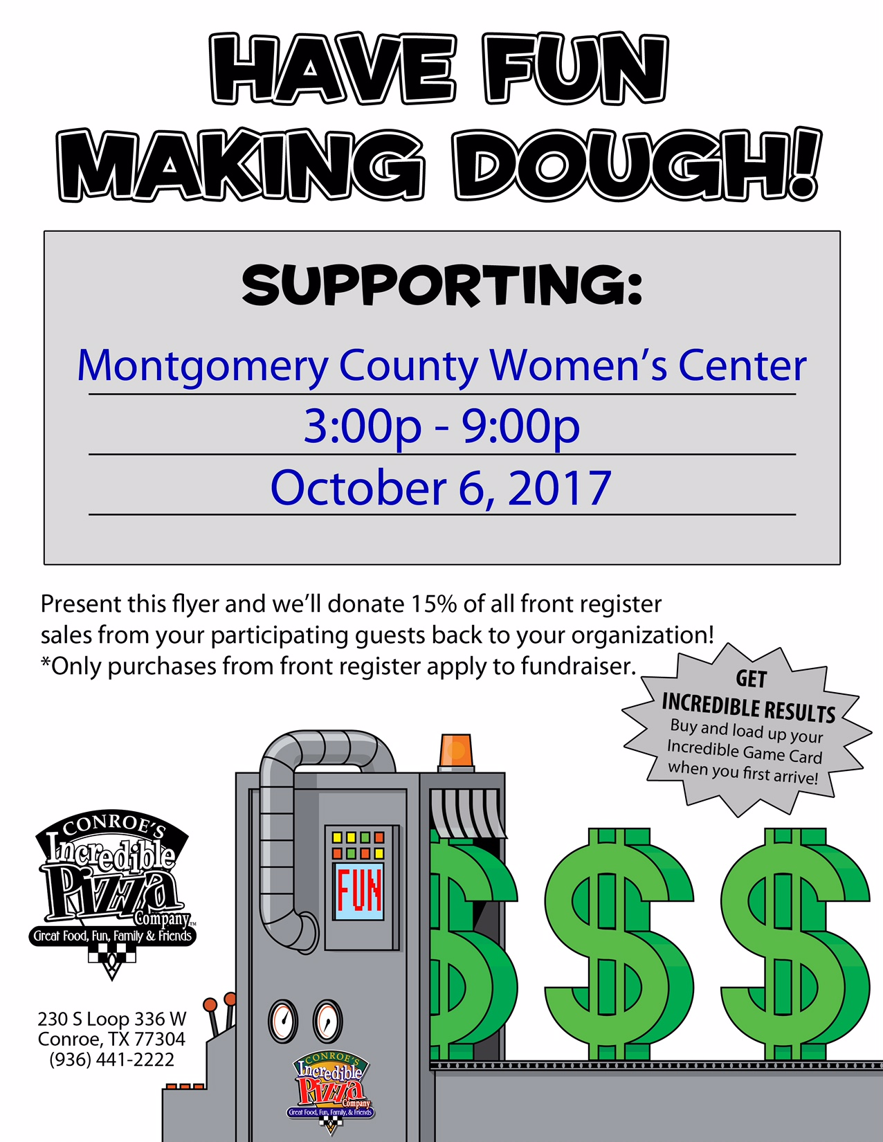Flyer for Incredible Pizza Company fundraising event