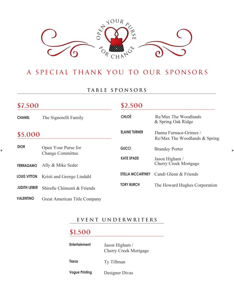 Thanks to the open your purse for change event sponsors